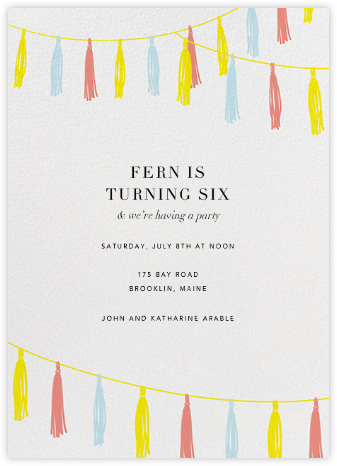 Tasseled II - Multi - Paperless Post - Online Kids' Birthday Invitations