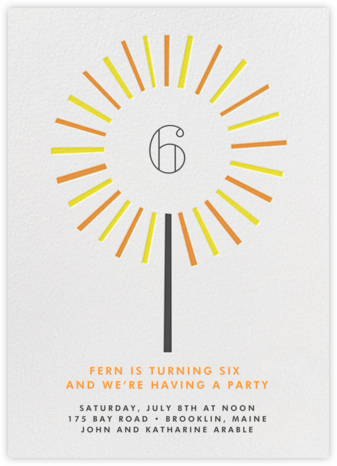 Year of the Sparkler - Orange - Paperless Post - Online Kids' Birthday Invitations