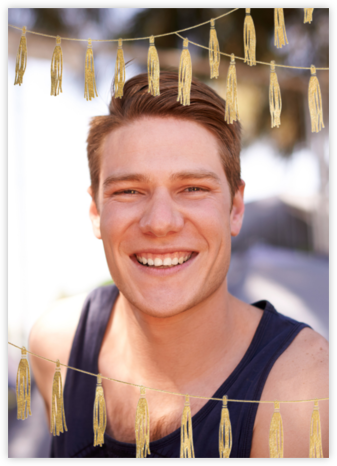 Tasseled II (Photo) - Gold - Paperless Post - Graduation Party Invitations