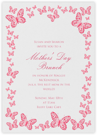 Butterfly Border - Pink Ivory - Bernard Maisner - Online Mother's Day invitations