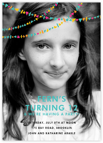 Streamer Shapes (Photo) - Bright - Paperless Post - Online Kids' Birthday Invitations