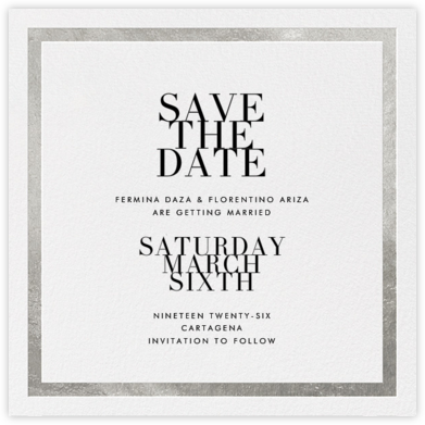 Editorial II (Save the Date) - White/Silver - Paperless Post - Modern save the dates