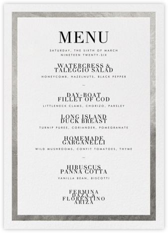 Editorial II (Menu) - White/Silver | tall