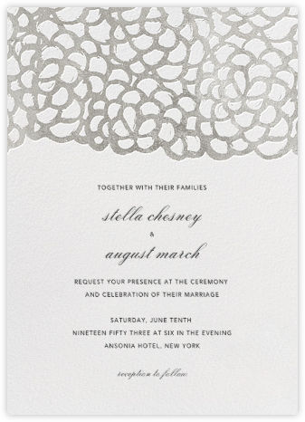 Gardenia - White/Silver - Oscar de la Renta - Wedding Invitations