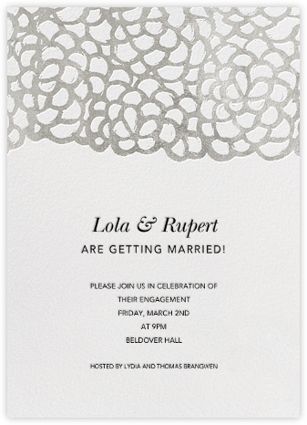 Gardenia - White/Silver - Oscar de la Renta - Engagement party invitations