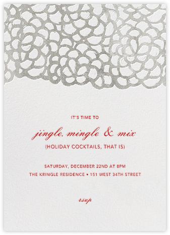 Gardenia - White/Silver - Oscar de la Renta - Holiday invitations