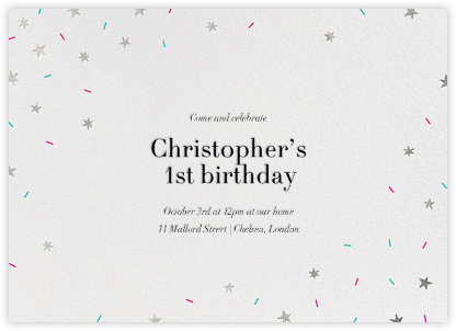 Starfetti - Silver - Paperless Post - First Birthday Invitations