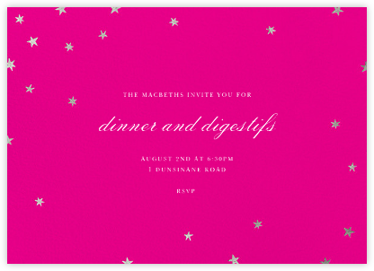 Nightly - Bright Pink/Silver - Paperless Post - Dinner Party Invitations