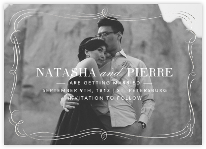 Plume (Photo Save the Date) - Silver - Paperless Post - Save the dates