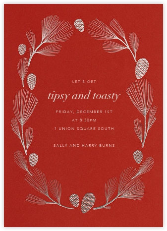 Sugar Pine - Red/Silver - Paperless Post - Holiday party invitations