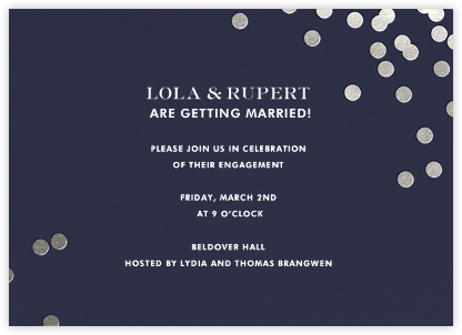 Confetti - Navy/Silver - kate spade new york - Engagement party invitations