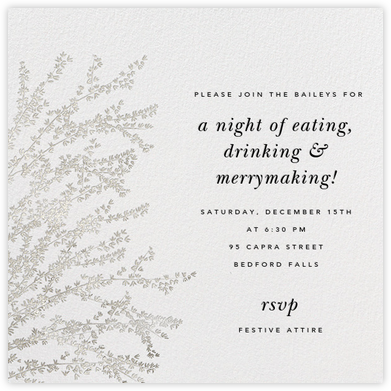 Forsythia - Silver - Paperless Post - Winter Party Invitations