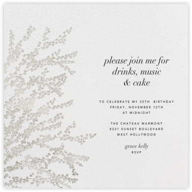 Forsythia - Silver - Paperless Post - Adult Birthday Invitations