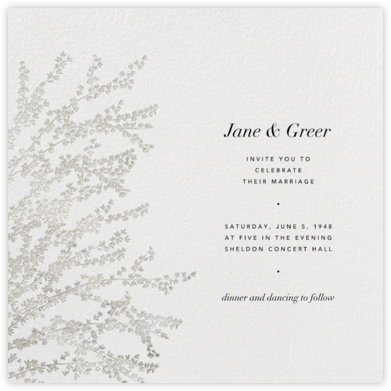 Forsythia - Silver - Paperless Post - Wedding Invitations