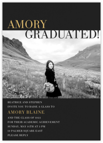 Graduated! - Black - Paperless Post - Graduation Party Invitations