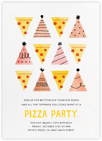 Pizza Pizza - Pink - Paperless Post - Online Kids' Birthday Invitations