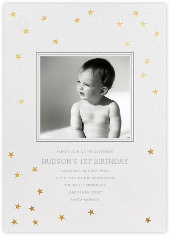 Starry First Birthday - Sugar Paper - Online Kids' Birthday Invitations