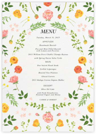 Fleurs d'Été (Menu) - Paperless Post - Wedding menus and programs - available in paper