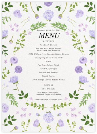 Fleurs d'Été - Lavender (Menu) - Paperless Post - Wedding menus and programs - available in paper