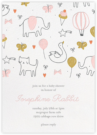 Balloon Parade - Little Cube - Elephant Baby Shower Invitations
