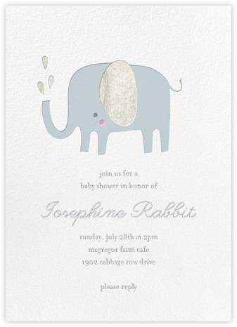 Ellie's Splash - Little Cube - Elephant Baby Shower Invitations