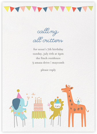 Jungle Birthday Bash (Invitation) - Little Cube - Birthday invitations