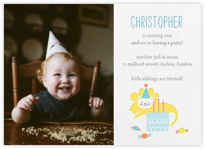 Leo's Birthday Bash (Photo) - Little Cube - Birthday invitations