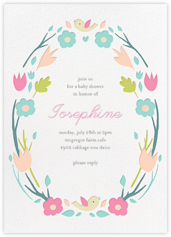Ring Around the Daisy - Pink - Little Cube - Baby Shower Invitations