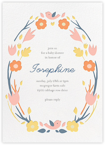Ring Around the Daisy - Orange - Little Cube - Woodland Baby Shower Invitations