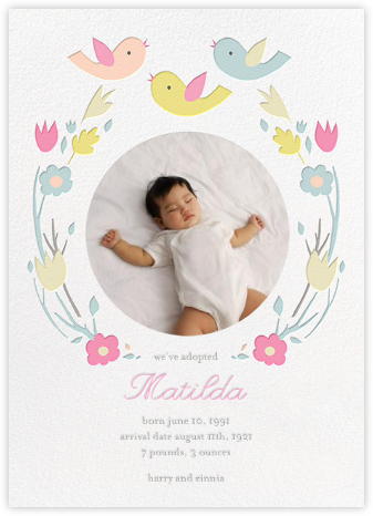 Ring Around the Daisy (Photo) - Yellow - Little Cube - Birth Announcements