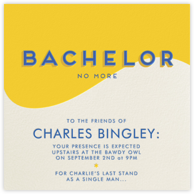 Bachelor No More - Paperless Post - Bachelor party invitations