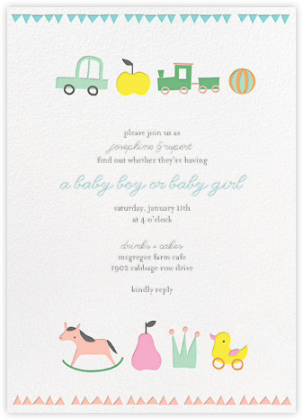 Toy Parade (Tall) - Little Cube - Online Baby Shower Invitations