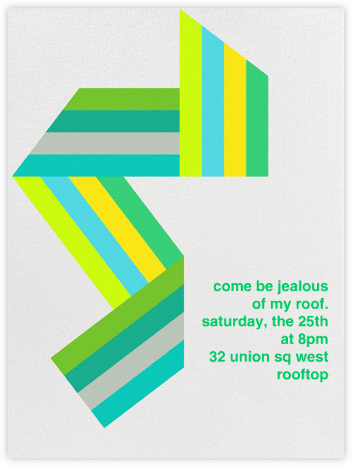 Supergraphic Ribbon - Green - Paperless Post - Invitations