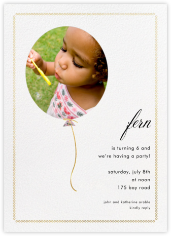 Balloon Portrait - Paper + Cup - First birthday and baby birthday invitations