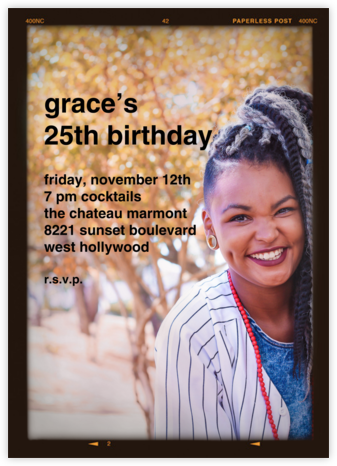 Medium Format Film - Tall - Paperless Post - Adult Birthday Invitations