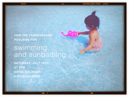Medium Format Film (Horizontal) - Paperless Post - Pool Party Invitations