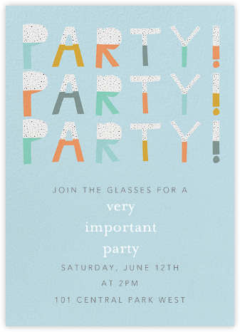 Party Party Party - Blue - Ashley G - Birthday invitations