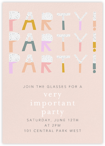 Party Party Party - Pink - Ashley G - Online Kids' Birthday Invitations