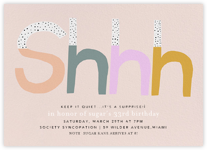 Shhh - Ashley G - Adult Birthday Invitations