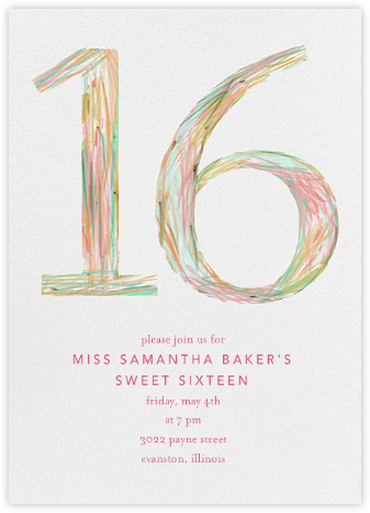 Sketched Sixteen - Ashley G - Sweet 16 invitations