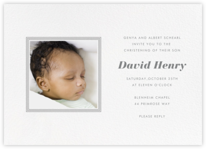 Square Frame (Horizontal) - Gray - Paperless Post - Baptism invitations