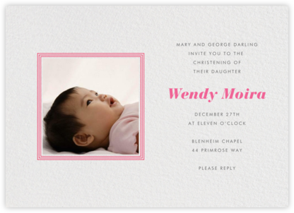 Square Frame (Horizontal) - Red - Paperless Post - Baptism invitations