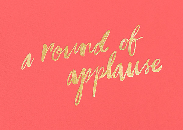 A Round of Applause - Coral/Gold - kate spade new york - Kate Spade invitations, save the dates, and cards