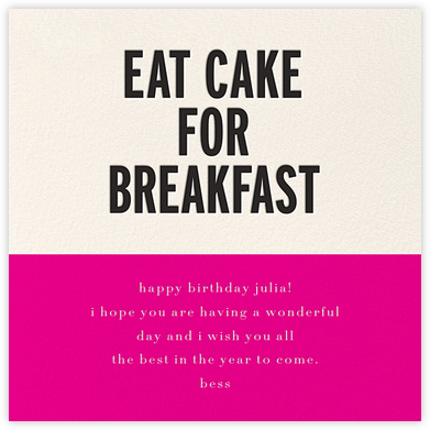 Eat Cake for Breakfast (Square) - Pink - kate spade new york - Online Greeting Cards