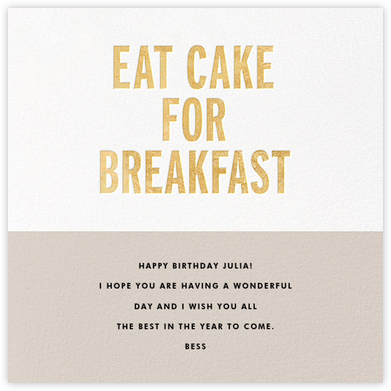 Eat Cake for Breakfast (Square) - Gold - kate spade new york - Birthday Cards