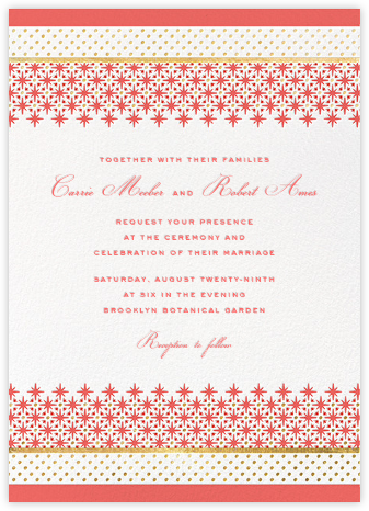 Jemma Street (Invitation) - Coral - kate spade new york - Indian Wedding Cards