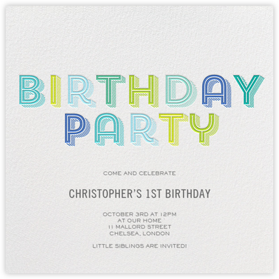 Contour Party - Blue - bluepoolroad - Kids' birthday invitations
