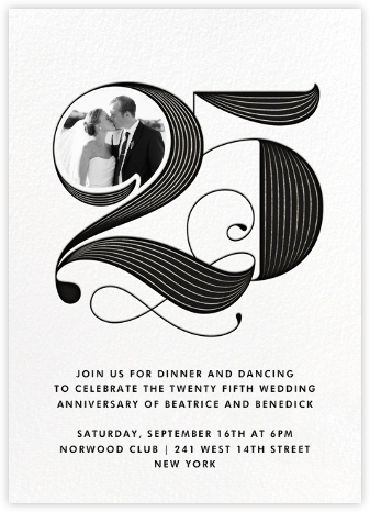 Pinstripe Numerals (Twenty-Five) - Paperless Post - Celebration invitations