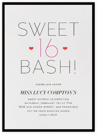 Sweetheart Sixteen - bluepoolroad - bluepoolroad invitations and cards