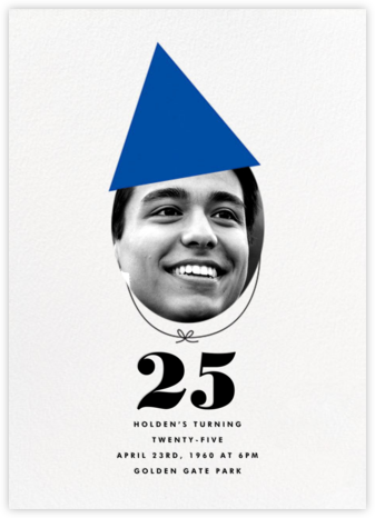 New Party Hat (Photo) - Blue - The Indigo Bunting - Adult Birthday Invitations